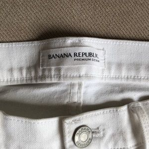White jean shorts made by banana republic